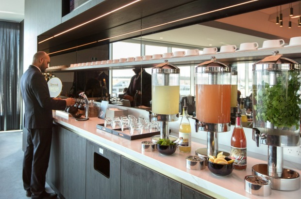Drinks at the 'Hydration Station' in the Qantas Club lounge at Melbourne Airport.