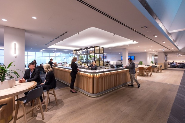 The bar at the upgraded Qantas Club lounge at Melbourne Airport.