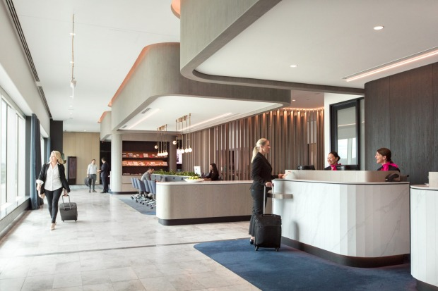 The entrance to the upgraded Qantas business lounge at Melbourne Airport.