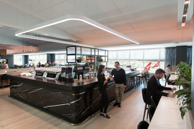 The bar in the Qantas business lounge.
