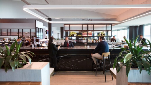 Qantas Melbourne business and Qantas Club lounge.