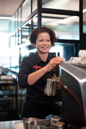The lounges feature barista-made coffee.