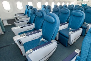 Vietnam Airlines' 787 Dreamliner premium economy cabin has a 2-3-2 layout.