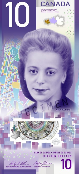 The $10 note that features the first Canadian woman, and the first black person.