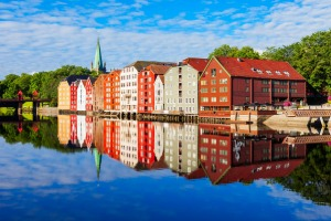 Colourful old houses at the Nidelva river embankment in the centre of Trondheim old town.