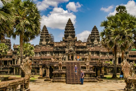 Angkor Wat in Cambodia is the largest religious monument in the world and a World heritage listed complex  ...
