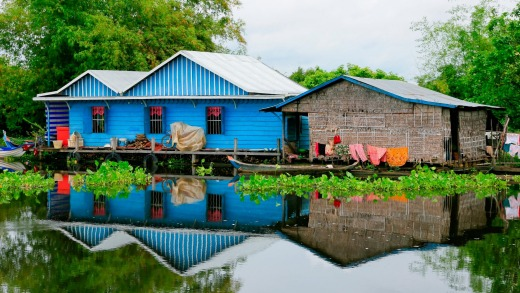 Water villages along Tonle Sap, the largest lake in Southeast Asia.