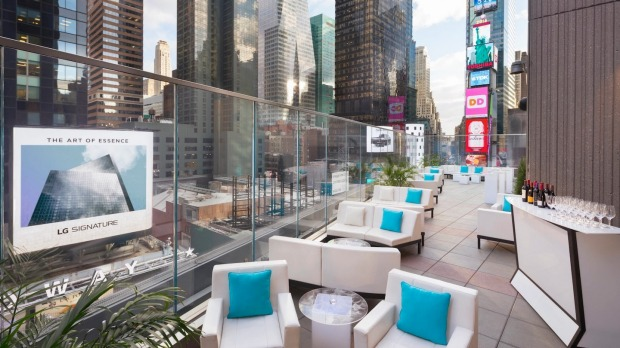 The Marriott Marquis' rooftop bar overlooking Times Square.