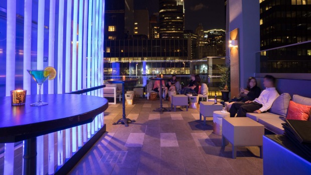 The Bernic's cute rooftop bar.