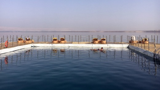 The pontoon at the Hilton Dead Sea Resort.