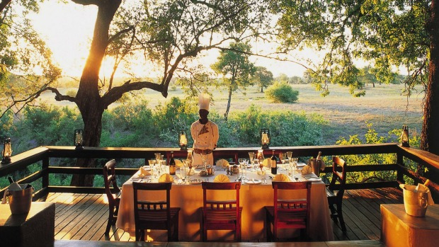 The Selati dining deck overlooks the riverbed.
