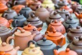Tea pots for sale at a Hong Kong market. Hong Kong has resolutely clung on to its tea-drinking heritage.