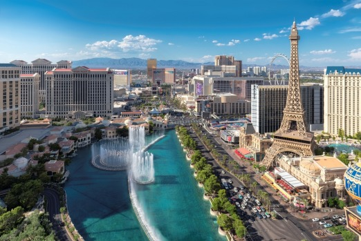 LAS VEGAS, USA: The Eiffel Tower's largest, most look-alike replica (exactly half-size) rises above other scaled-down ...