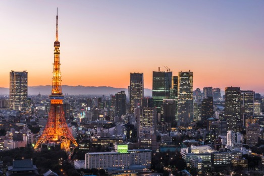 TOKYO, JAPAN: Giant tower and broadcasting antenna Tokyo Tower soars above city skyscrapers could almost be mistaken for ...