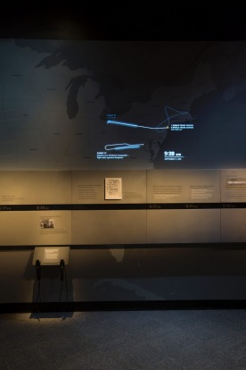 The display shows the flight paths of the hijacked planes.