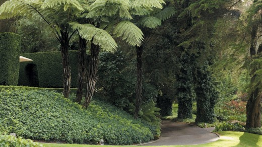 Huka Lodge's gardens resemble an English-style park, but not many plantings are European.