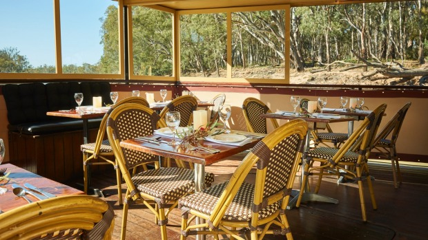 The dining area: PS Emmylou paddle steamer Murray River.
