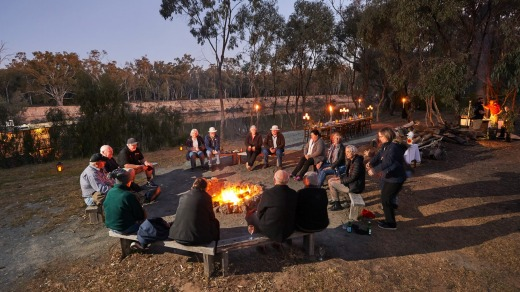 Campfire by the river.