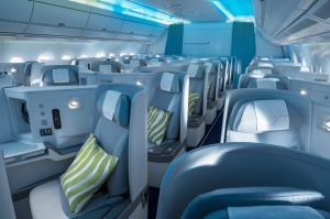 Finnair A350 business class with Marimekko design collaboration.