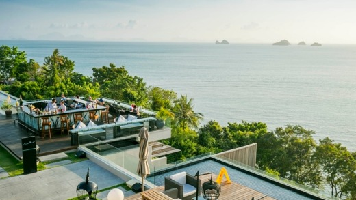 Terrace view to the Five Islands from InterContinental Samui Baan Taling Ngam Resort.