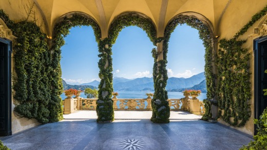 Scenic balcony overlooking Lake Como in the famous Villa del Balbianello, in the comune of Lenno.