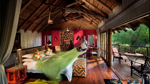 A tree house suite at Jaci's Tree Lodge, which is a clever mix of luxury and bush decor.