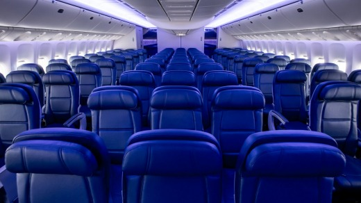 Delta Airlines Boeing 777-200LR's economy cabin.