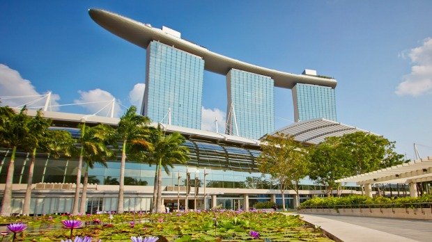 The landmark Marina Bay Sands Hotel featured prominently in Crazy Rich Asians.