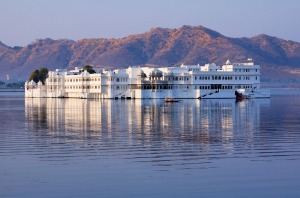 The Lake Palace Hotel in the middle of Lake Pichola, Udaipur.