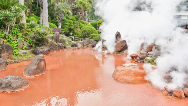 Blood Pond Hell can be found in the city of Beppu in north-eastern Kyushu.