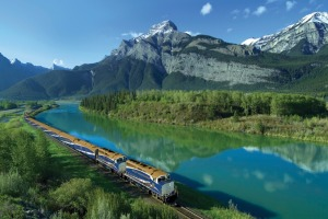 Rocky Mountaineer train near Exshaw in Kananaskis Country, Alberta, Canada.
