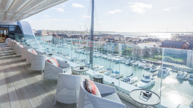 Sweeping views over Ocean Village Marina can be enjoyed from the Southampton Harbour Hotel.