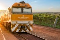 """The livery of the diesel engine which will pull the first Great Southern train is a """"sunset-inspired burnt orange""""."""