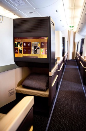 An aisle seat in Etihad business class.