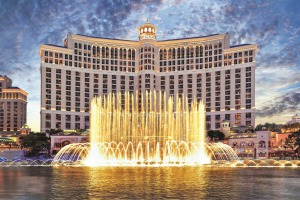 The Bellagio Hotel's fountains burst into a choreographed show every day.