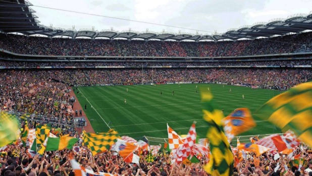 Flags flying at match day in Croke Park.