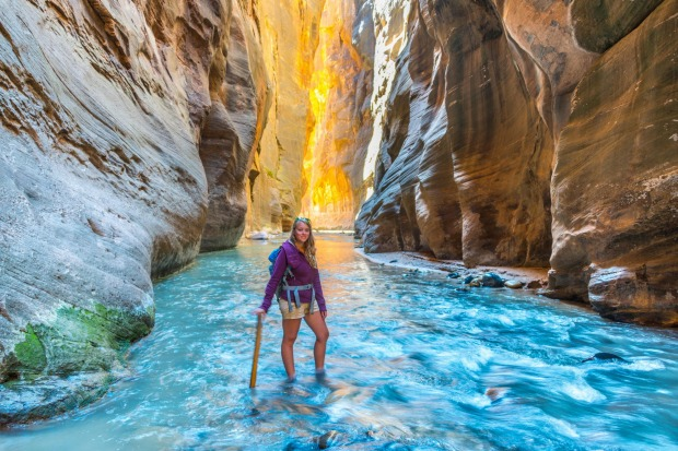 Hike The Narrows, Zion, Utah: Getting wet is part of the fun as you hike through the ankle-to-waist deep Virgin River ...