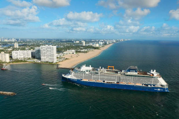 Celebrity Edge arrives in Fort Lauderdale, Florida before its inaugural cruise in 2018.