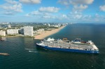 Celebrity Edge arrives in Fort Lauderdale, Florida.