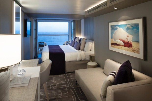 A Concierge Class Stateroom. Dubbed Edge Staterooms with Infinite Verandas, the new cabins have balconies that are ...