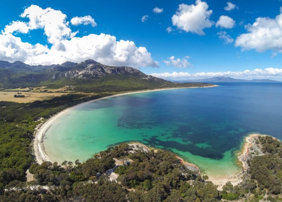 Trousers Point: Imagine Mt Wellington rising up from the shores of the Bay of Fires and you pretty much have the picture ...
