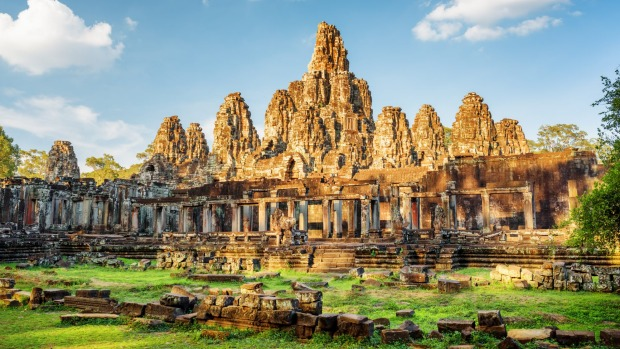 Mysterious Angkor Thom nestled among rainforest in Siem Reap, Cambodia.