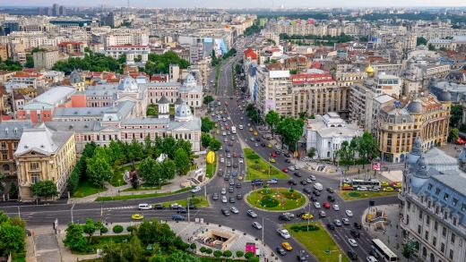 University Square in Bucharest. The city features wide, Paris-inspired boulevards and fine Belle Epoque architecture.