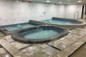 A South Korean jjimjilbang offers baths of various types and temperatures.