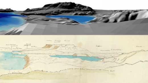 Top: Digital elevation oblique view of Mount Tarawera and the surrounding landscape near Lake Tarawera based on von ...