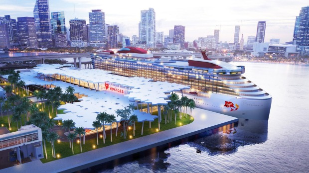 A rendering of the Virgin Voyages terminal.