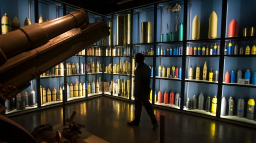 Shells from WWI on display at the Memorial Museum Passchendaele 1917 in Zonnebeke, Flanders, Belgium.