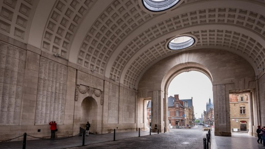 The Menin Gate memorial to the dead of World War I, Ypres, Belgium.