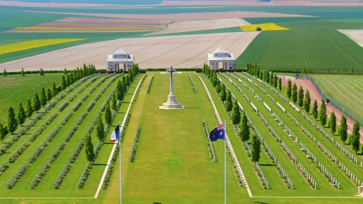 The Australian cemetery of the first world war at Villers Bretonneux in Somme, France.