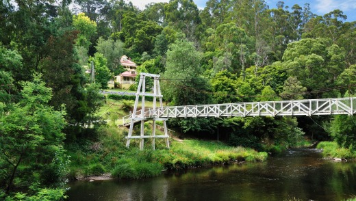 Suspension Bridge, Yarra River, Warburton, Victoria.